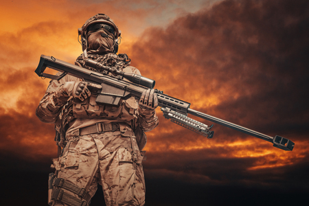 US Army ranger sniper with huge rifle