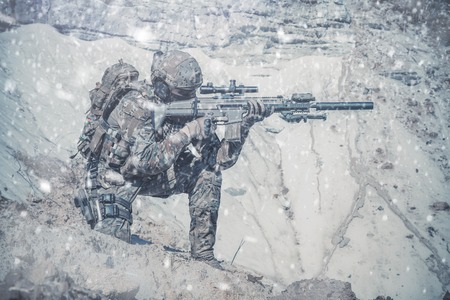 army uniform: United States Army ranger in the mountains