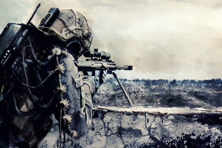 soldiers: Futuristic mechanical sniper in the destroyed city Stock Photo