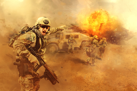 United States Army rangers are attacking the enemy