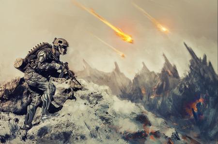 Futuristische mechanische soldaat in actie op een vreemde planeet