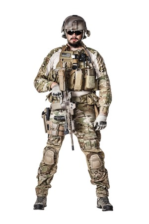 special operations: Green Berets US Army Special Forces Group soldier studio shot