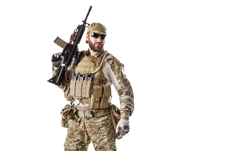 recon: Green Berets US Army Special Forces Group soldier studio shot