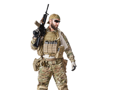 us soldier: Green Berets US Army Special Forces Group soldier studio shot