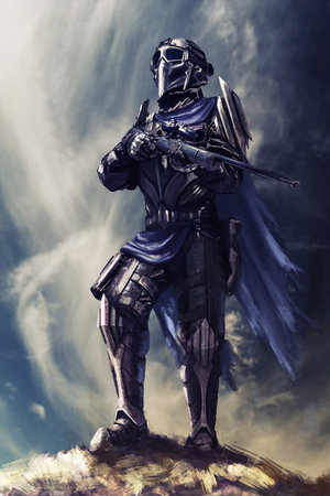 pinnacle: Futuristic armored warrior with weapons on the pinnacle Stock Photo