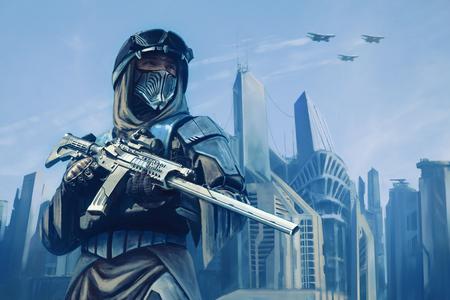 Strijder met wapens in de voorkant van de wolkenkrabbers van de toekomstige stad Stockfoto