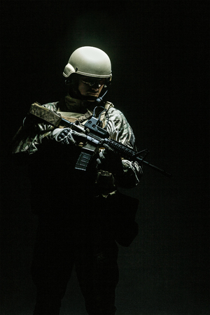 Green Berets US Army Special Forces Group soldier studio shot