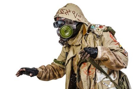 post apocalypse: Nuclear post apocalypse. Studio shot of survivor in tatters Stock Photo