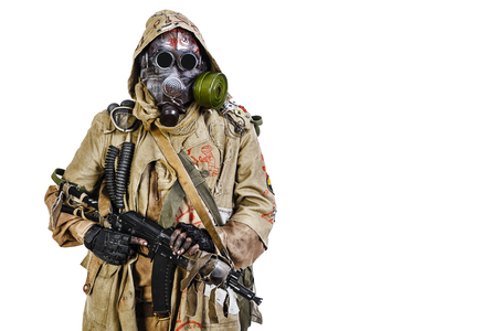 survivor: Nuclear post apocalypse. Studio shot of survivor in tatters Stock Photo