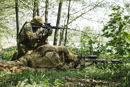 sof: Sniper and spotter of Green Berets US Army Special Forces Group in action