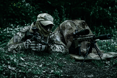 berets: Sniper and spotter of Green Berets US Army Special Forces Group in action