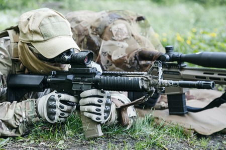 recon: Sniper and spotter of Green Berets US Army Special Forces Group in action