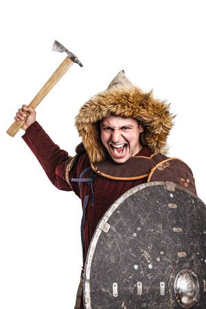 mongol: Mongol horde warrior in armour holding traditional axe Stock Photo