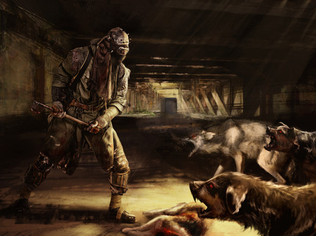 post apocalypse: Nuclear post apocalypse survivor fighting for his life with mutated dogs Stock Photo