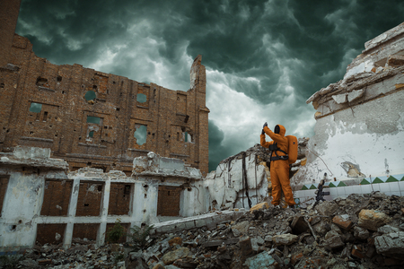 Post apocalypse. Scientist researcher on the ruins of the destroyed city