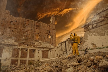 post apocalypse: Post apocalypse. Scientist researcher on the ruins of the destroyed city