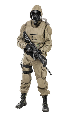 survivor: Nuclear post apocalypse. Studio shot of survivor with weapons and gas mask
