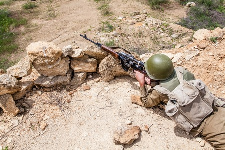 paratrooper: Soviet paratrooper in Afghanistan during the Soviet Afghan War Stock Photo
