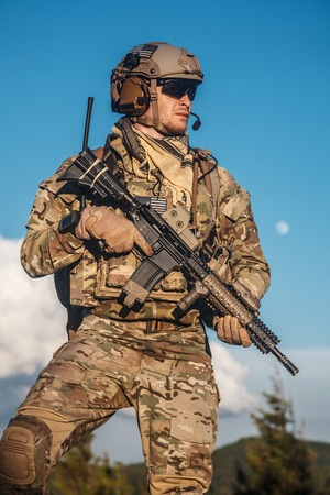 united: United states army ranger in the mountains