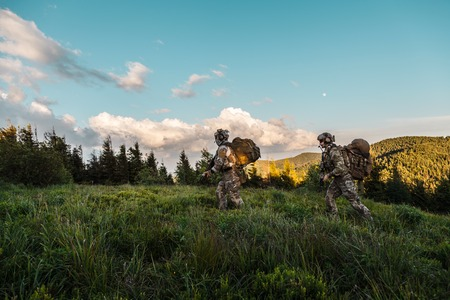 United states army rangers in the mountains Stock Photo