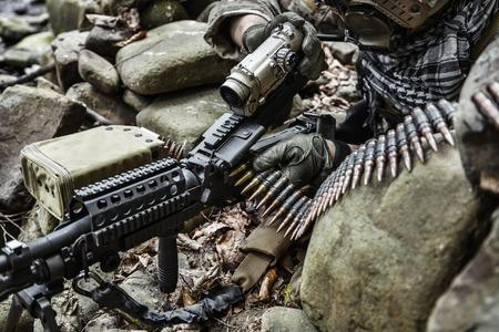 rifleman: United states army ranger machine gunner in the forest