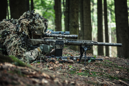 United states army rangers sniper pair in the forest Stock Photo