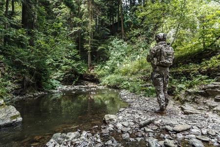 山の中のアメリカ合衆国陸軍レンジャー 写真素材