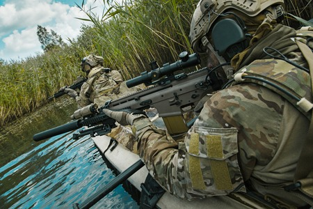 special operations: Special forces operators in the military kayak