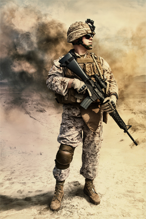 Close-up photo of US marine with his rifle