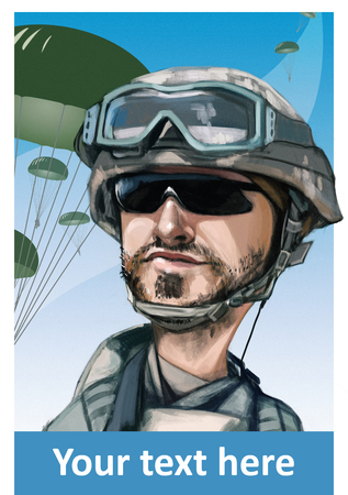 us air force: Funny hand drawn illustration cartoon. United States paratrooper airborne infantryman smiling face. Parachutes on background