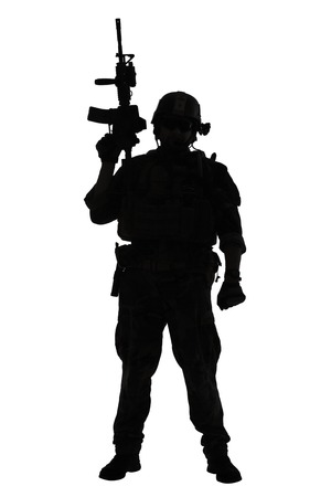 recon: United states Marine Corps special operations command Marsoc raider with weapon. Silhouette of of Marine Special Operator white background full body