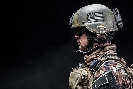 United states Marine Corps special operations command Marsoc raider. Studio shot of Marine Special Operator black background