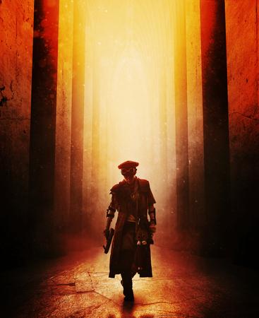 버려진 건물 가로 질러 걷는 만든 무기와 검댕으로 더럽혀진 포스트 종말 여성 생존자. 위에서 빛