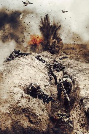 ファイナルします。アクションのフランスの落下傘兵の分隊。飛行機は、空気から支援すること、敵の塹壕は殻し、殺された敵でいっぱい 写真素材