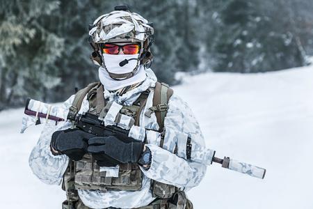 冬の山岳戦。冷たい状態でアクション。森の北極圏上にどこかに武器を持つ兵士