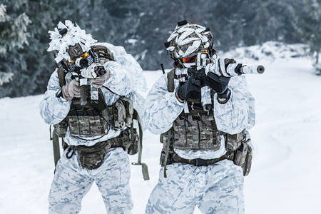 troop: Winter arctic mountains warfare. Action in cold conditions. Pair of special forces weapons in forest somewhere above the Arctic Circle Stock Photo