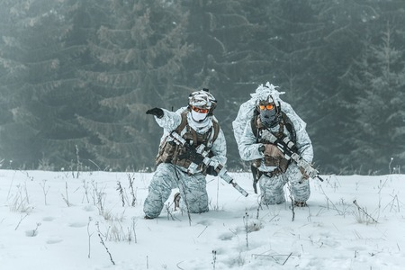 Winter arctic mountains warfare. Action in cold conditions. Pair of special forces weapons in forest somewhere above the Arctic Circle Stock Photo