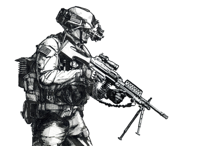 US Army Ranger member with machinegun and night vision goggles moving on mission. Hand drawn image