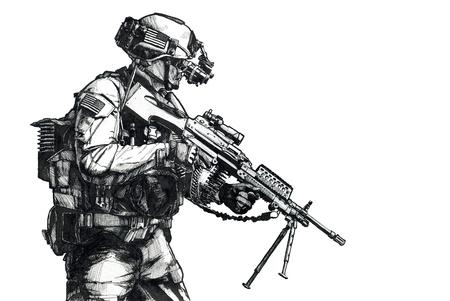 US Army Ranger-lid met machinegeweer en nachtkijkers die op missie gaan. Hand getrokken afbeelding Stockfoto