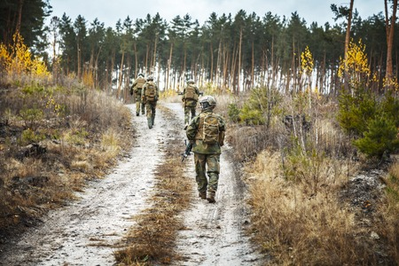 patrolling: Norwegian Rapid reaction special forces FSK soldiers in field uniforms patrolling forest road Stock Photo
