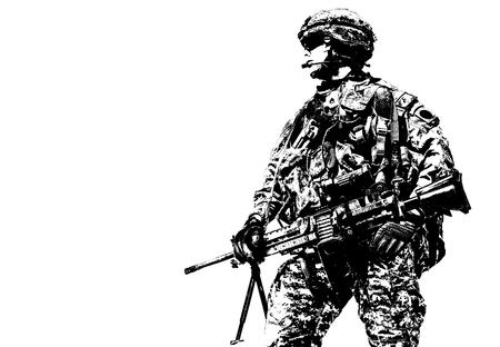 Porträt von United States Airborne Infanterie Machinegunner, Camo Uniformen Kleid. Kampfhelm Munition, Seitenansicht Standard-Bild - 74788330