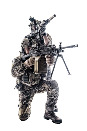 Two Army Rangers in field Uniforms with weapon. Studio shot Stock Photo