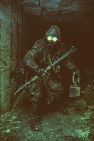 自家製の武器やランタンと地下ポスト黙示録的な生き物 写真素材