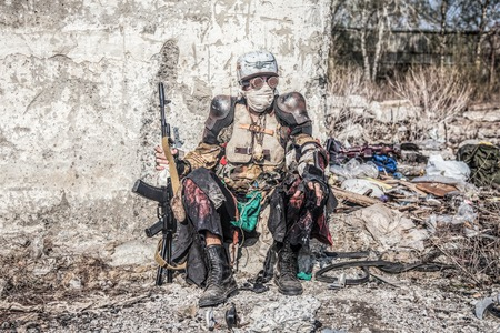 Post apocalyptic survivor creature with homemade weapons Reklamní fotografie - 89279788
