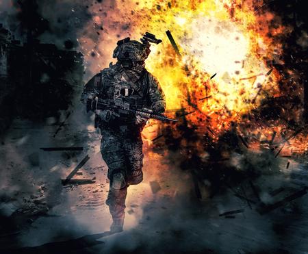 作戦中の陸軍兵。火と煙で大爆発うねっ 写真素材