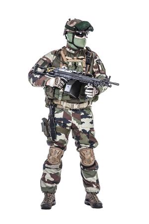 Paratroopers 프랑스어 1 해양 보병 낙하산 연대 RPIMA 스튜디오 촬영