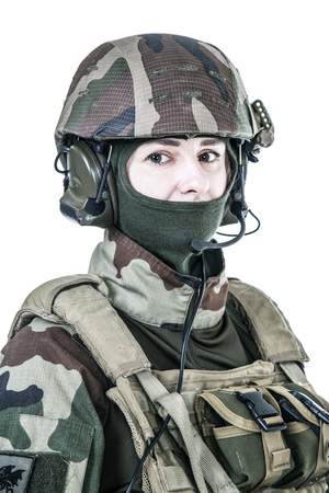 Female paratrooper of french 1st Marine Infantry Parachute Regiment RPIMA studio shot