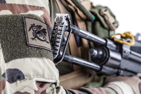 프랑스 제 1 해양 보병 낙하산 연대 RPIMA 스튜디오의 paratroopers의 키메라 chervron