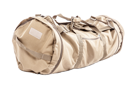 Army duffle bag isolated on white studio shot