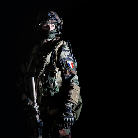 フランス第1海兵歩兵パラシュート連隊RPIMAスタジオショットの空挺部隊 写真素材